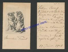 Menu - 2 CARTES D' INVITATION - Monsieur PERRET - Madame PERRET - Menus