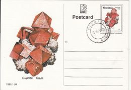 MINERALS, CUPRITE, PC STATIONERY, ENTIER POSTAL, 1995, NAMIBIA - Minerali