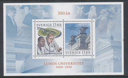 Sweden 2016. Facit # BL 45 (3143-2144) -  SS University Of Lund 350 Year. MNH (**) - Nuovi