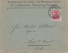 Env Affr Germania 10 Pfg Obl Straßburg (Els) = / Neudorf - B Du 23 3 14 Adressé à Ars Sur Moselle - Marcophilie (Lettres)