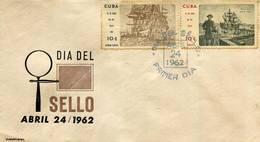 Lote SC839, Cuba, 1962, Sobre, Cover, FDC, Dia Del Sello, Naves, Sailboat - Timbres