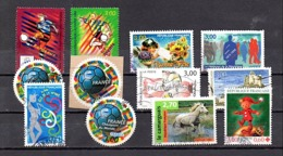 FRANCE 1998 12 TIMBRES ENTRE N° 3130 ET N° 3199 (o)(YT) FOOT-BALL, CHAMPIONS, CHEVAL,CROIX ROUGE ETC... - Gebraucht