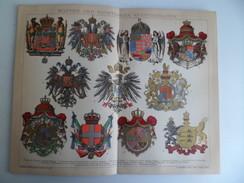 1901 Brockhaus Lithographie Chromo Gravure Wappen Der Wichtigsten Kulturstaaten Prusse Autriche Hongrie Bayern Russie Sa - Lithographies