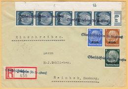 GO Of France Alsace 1940. Hindenburg Overprinted Elsas Stamps Rare Franking On Registerd Cover Oberschaffolsheim - Occupation 1938-45
