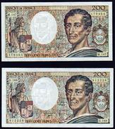FRANCE: Bon Lot De 2 Billets: 200 F Montesquieu, N° 70 Date 1992 Et N°70/2 Date 1994 (plus Rare) - 200 F 1981-1994 ''Montesquieu''