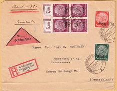 GO Of France Alsace 1940. Hindenburg Overprinted Elsas Stamps Rare Franking On Registered And Cash On Delivery Cover - Occupation 1938-45