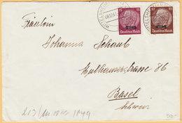GO Of France Alsace 1941. 10+15Pf Hindenburg Overprinted Elsas Stamps Franking On Censored Cover Wittelsheim To Basel - Occupation 1938-45