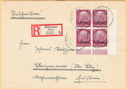 GO Of France Alsace 1941. 15Pf Hindenburg Overprinted Elsas Stamps In Four Block Rare Franking On Registered Cover - Occupation 1938-45