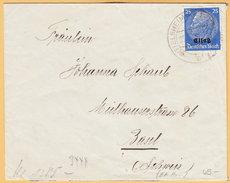 GO Of France Alsace 1941. 25Pf Hindenburg Overprinted Elsas Stamp Only Franking On Censored Cover Wittelsheim To Basel - Occupation 1938-45