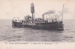 """Bateau Phare Avec Son équipage, Le """"Ruytingen"""" En Rade De Dunkerque, Rare, Forte Cote, Bon état, Carte Animée - Barche"""