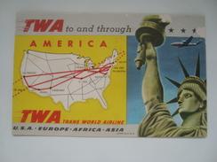 BLOTTING PAPER: TWA TO AND THROUGH AMERICA - USA 50s. UNUSED. AIRLINE AVIATION. - Advertenties