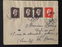 FRANCE - Enveloppe Avec 3ex N° 687 + 1ex N° 692 Sur Lettre Marianne De Dulac - 1944-45 Marianne Van Dulac