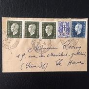 FRANCE - Enveloppe Avec 1ex N°673 + 3ex N° 690 + 1ex N° 684 - 1944-45 Marianne Van Dulac