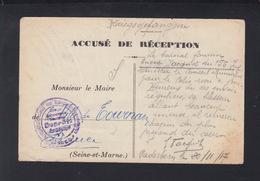 Accuse De Reception  Le Sou Du Prissonier 1917 - Poststempel (Briefe)