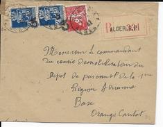 1942 - ALGERIE - ENVELOPPE RECOMMANDEE De ALGER => BASE AERIENNE De ORANGE (VAUCLUSE) - ARMOIRIES - Algérie (1924-1962)