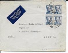 1945 - ALGERIE - UN SEUL BUT LA VICTOIRE BLOC De 4 - ENVELOPPE Par AVION De ALGER => LYON - Algerien (1924-1962)