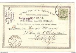 Denmark Découpure D'entier 5 öre Kjobenhavn/Copenhague 1903 To Brussels Belgium PR4022 - 1905-12 (Frederik VIII)