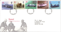 29.09.1998 Speed Great British Land Speed Records Royal Mail First Day Cover FDC Exeter SHS - FDC