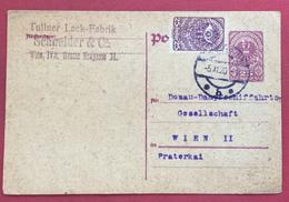 AUSTRIA INTERO POSTALE 25 H. + 25  DA VIENNA PER CITTA' IN DATA 5/11/1920 - 1961-70 Storia Postale