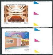 Italia 2017; Teatro Del Popolo Di Castelfiorentino + Piccolo Teatro Di Milano, Serie Completa. Francobolli Bordo Destro. - 6. 1946-.. Repubblica