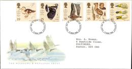12.03.1996 The Woldfowl & Wetlands Trust Royal Mail First Day Cover FDC Exeter District SHS - FDC