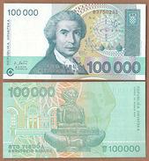 AC -  CROATIA 100 000 DINAR 1993 UNCIRCULATED - Croatie