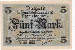 * MEMEL 5 MARK 1922 P-4a AUNC  [MEM104a] - Banknotes