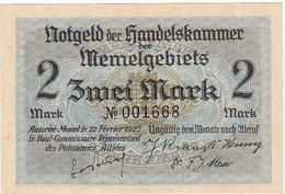 * MEMEL 2 MARK 1922 P-3a AUNC  [MEM103a] - Bankbiljetten