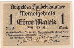 * MEMEL 1 MARK 1922 P-2a AUNC  [MEM102a] - Banknotes