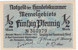 * MEMEL 1/2 MARK 1922 P-1 UNC  [MEM101a] - Bankbiljetten