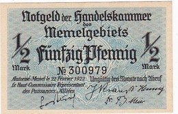* MEMEL 1/2 MARK 1922 P-1 UNC  [MEM101a] - Billetes