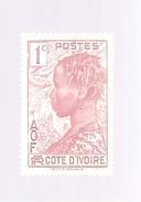 Timbre Côte D'Ivoire Valeur 1c Femme Baloué De La R.F.AOF Non Oblitéré - Côte-d'Ivoire (1892-1944)