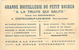 """CHATEAUNEUF LES BAINS - GRANDE HOSTELLERIE DU PETIT ROCHER """"A LA TRUITE QUI SAUTE"""" CARTE COMMERCIALE ANCIENNE(9 X 14 Cm) - Autres Communes"""