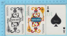 Cartes à Jouer   - 2 Joker + As De Pic  -Fou Du Roi Troubadour- Recto Femme à Casquette - 2scans - Cartes à Jouer Classiques
