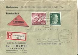 Besatzung Deutsches Reich Einschreibebrief Luxemburg - Wiltz 1943 / Luxemburg WWII - Occupazione