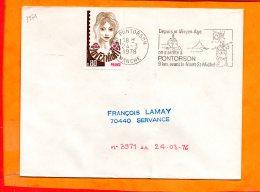 MANCHE, Pontorson, Flamme SCOTEM N° 3971, On S'arrete à Pontorson, 9Km Avant Le Mont St Michel - Mechanical Postmarks (Advertisement)