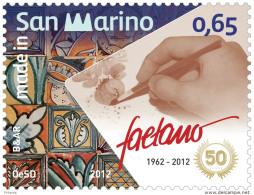 2012 San Marino -Made In SanMarino - Ceramica Faetano - 50 Years - 1v - Paper MNH** - San Marino