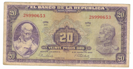Colombia 20 Pesos 1963 VF. Hard To Find. - Colombie