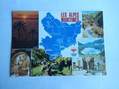 Dep 06 Les Alpes Maritimes        Carte Departement Geographique '  Avec Blason ' Multivues 6 Vues - Cartes Géographiques