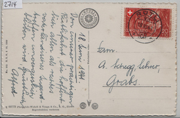 1941 Hohle Gasse B14/397 - Stempel: Rütli Auf AK Nach Grabs 18.VI.41 - Pro Patria