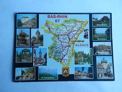 Dep 67 Bas Rhin   Carte Departement Geographique ' Et Blason  ' Multivues 13 Vues - Cartes Géographiques