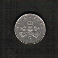 GREAT BRITAIN  5 PENCE 1991  (KM #937b) - 1971-… : Decimal Coins