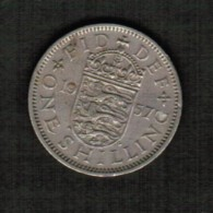 GREAT BRITAIN  1 SHILLING 1957 (KM #904) - 1902-1971 : Post-Victorian Coins