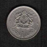 MOROCCO  1 DIRHAM 1965 (AH 1384) (Y # 56) - Marokko