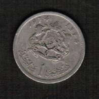 MOROCCO  1 DIRHAM 1974 (AH 1394) (Y # 63) - Marokko
