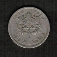 MOROCCO  1 DIRHAM 1974 (AH 1394) (Y # 63) - Morocco