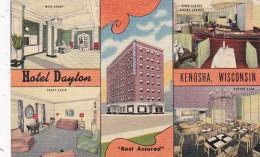 Wisconsin Kenosha Hotel Dayton Main Lobby Guest Suite Coffe Shop & Town Casino Dining Lounge Curteich - Kenosha