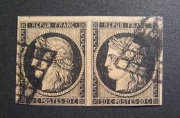 LOT GD/457 - CERES (PAIRE) N°3b Sur Chamois - Cote : 750,00 € - 1849-1850 Cérès