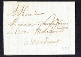 1751  Lette De Paris Pour Doudant - Postmark Collection (Covers)