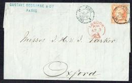 1863  Lettre De Paris Pour Oxford Yv 23 Cachet Paris Etranger Pothion 1350 Sur Timbre Indice 17 - 1862 Napoléon III.